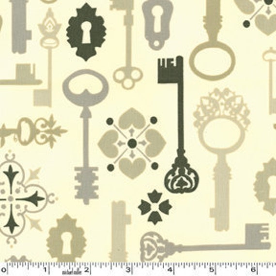 SALE---1 yard---Lock and Key in Khaki, Secret Garden, Sandi Henderson, Michael Miller Fabrics