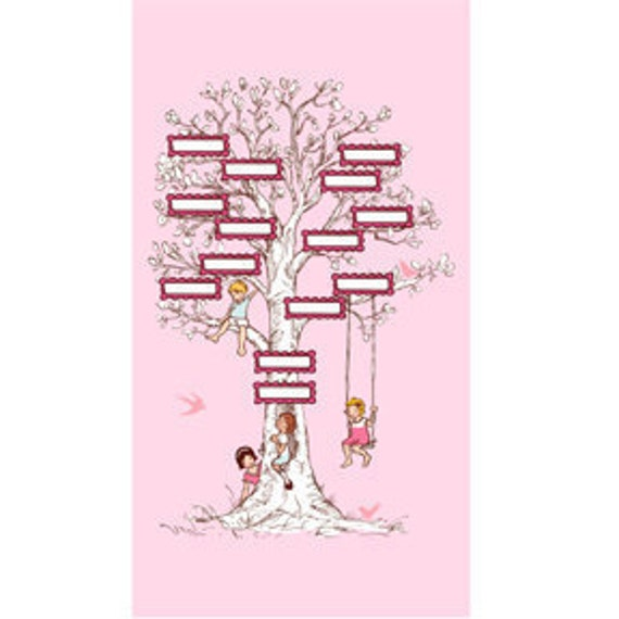ON SALE--1 Family Tree PANEL in Pink,  Children at Play, Sarah Jane, Michael Miller Fabrics
