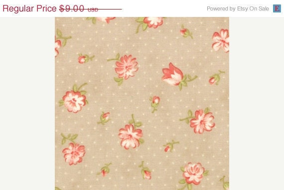 SALE--fig tree and co 1 yard---Strawberry Blooms in Slate, Strawberry Fields, Fig Tree Quilts for Moda Fabrics