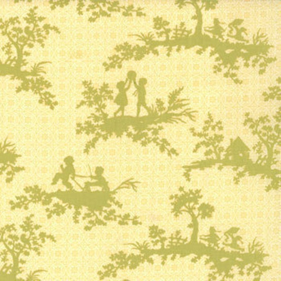 ON SALE---California Girl---Playtime Toile in Sunshine--1 yard--Fig Tree Quilts for Moda Fabrics