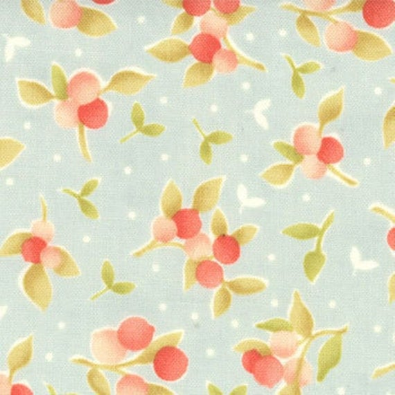 California Girl---Floral Bermuda Ticking in Seaglass--1 yard--Fig Tree Quilts for Moda Fabrics
