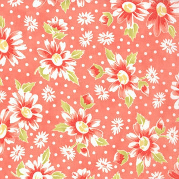 ON SALE---California Girl---Seaside Daisies in Coral--1 yard--Fig Tree Quilts for Moda Fabrics