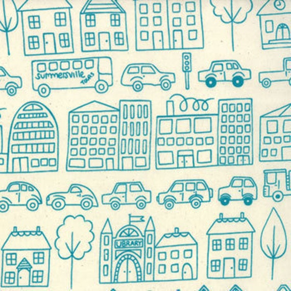 Summersville---Metro Novelty Town  in Turquoise---1 yard--Lucie Summers for Moda Fabrics