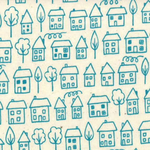 Summersville---Metro Novelty Avenue in Turquoise---1 yard--Lucie Summers for Moda Fabrics