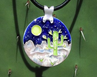 Enamel Night Cactus Pendant
