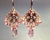 Tea Rose, earrings in copper and antique pink crystal (or choose your own color)