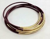Dark Rose Leather and Gold Stacked Bangle Bracelets, set of 5.