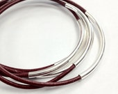 Dark Rose Leather and Silver Stacked Bangle Bracelets, set of 5.