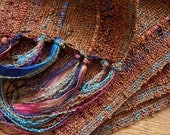 handwoven scarf autumn golden brown lightweight