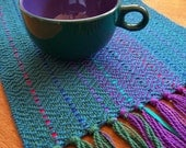 Christmas in July sale handwoven table runner sapphire blue, small
