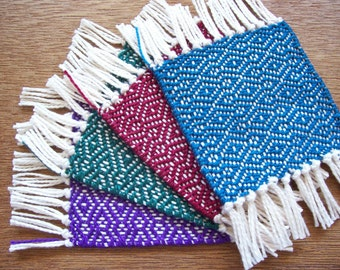 handwoven jewel tone coaster set of four