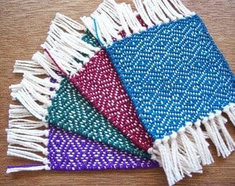 handwoven jewel tone coaster set of four