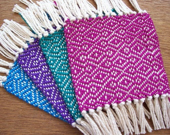handwoven coaster set of four, brilliant colors