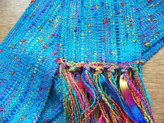 handwoven long peacock blue scarf