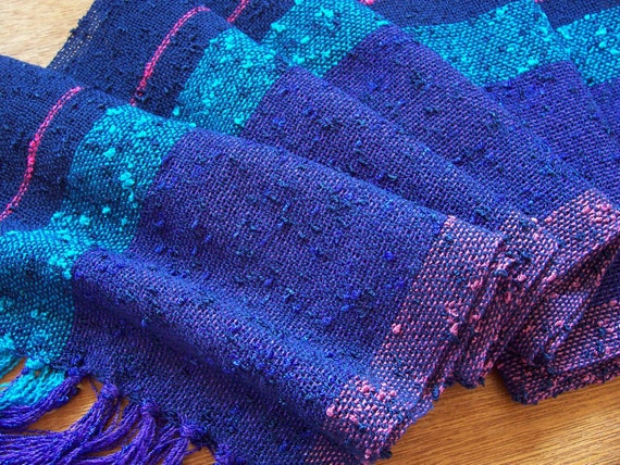 sale handwoven scarf lightweight blues stripe