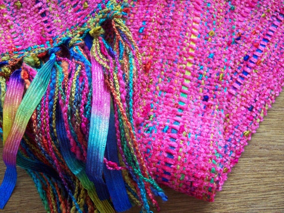 spring sale handwoven scarf in brilliant pink, long
