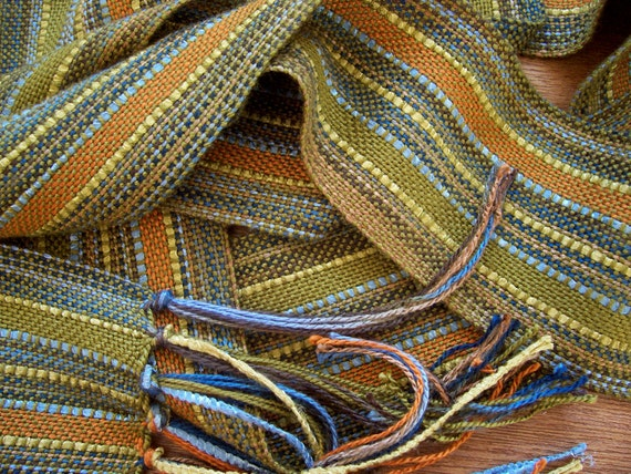 handwoven scarf, olive with bamboo ribbon lariat