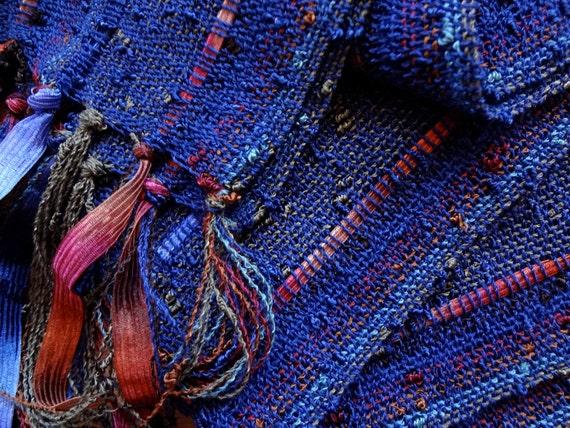 handwoven scarf midnight blue lightweight