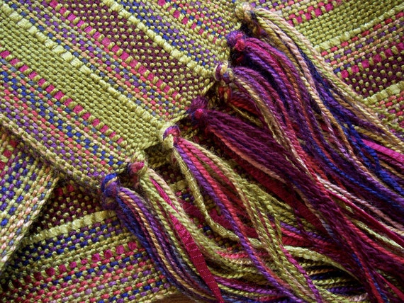 handwoven scarf, plum olive with bamboo ribbon lariat