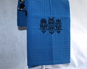 Embroidered Blue Waffle Weave Dish Towel - Owls