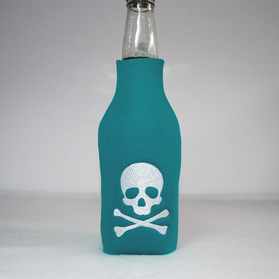 Beer Bottle Cozy - Teal Skull & Crossbones