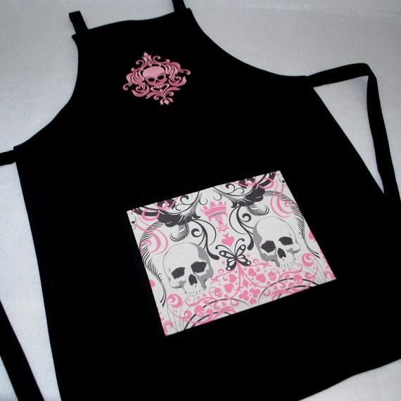 Embroidered Damask Skull Reversible Apron