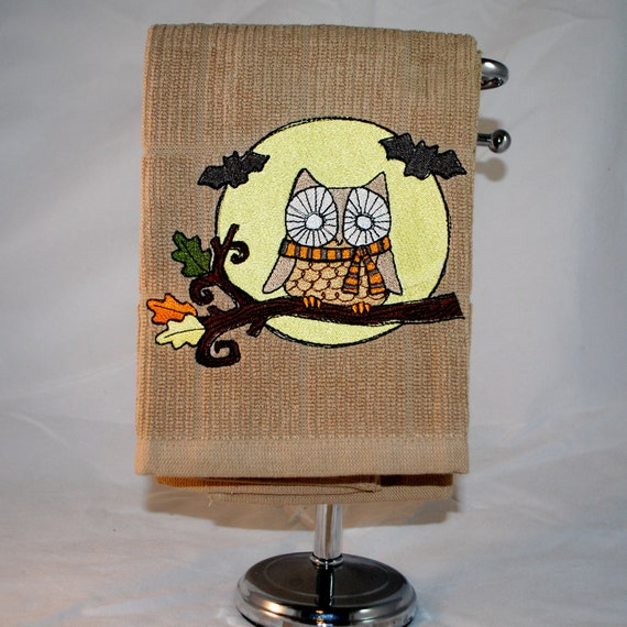 Winter Owl Embroidered Dish Towel