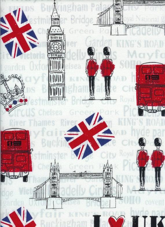 Timeless Treasures  British I Love Uk - 1/2 Yard