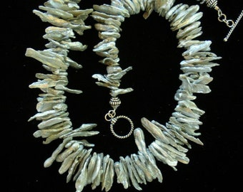 Feathery Light Biwa Stick Pearl Necklace