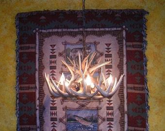 22 inch Whitetail Chandelier with center down light, 12 Antler Design, 5 Elk Antler Covered socket