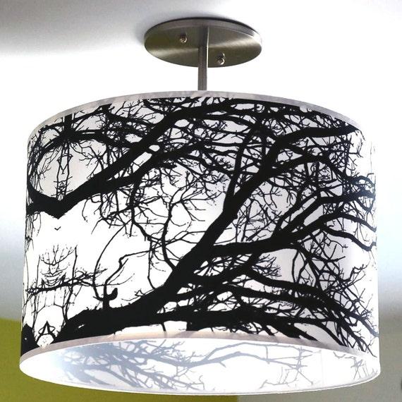 drum barrel lamp shade black branch photograph on silk 18 inch. Black Bedroom Furniture Sets. Home Design Ideas