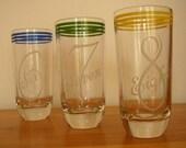 SALE - Vintage Graphic Number Glasses - 6,7,8