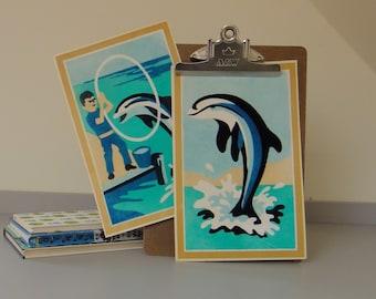 SALE - Vintage Flocked Dolphin Art