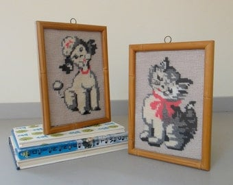 Vintage Framed Poodle and Kitten Needlepoint Pair