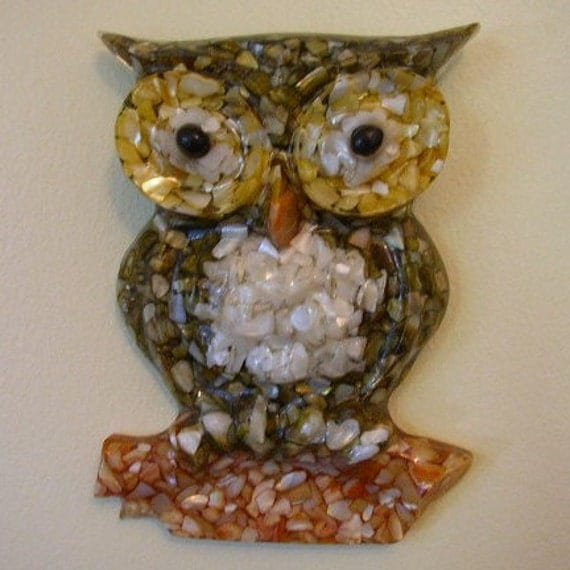 Sale Vintage Mother Of Pearl Resin Owl Decorative Plaque