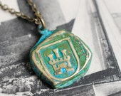 lion rampant and castle shipwreck pirate cob reversible necklace ~ patina antique spanish coin jewelry