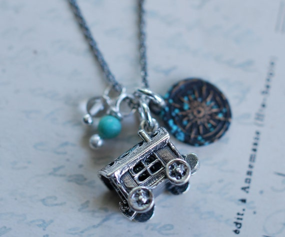 Still Wandering Charm Necklace... a compass rose wax seal and gypsy caravan locket charm necklace