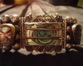Vintage Carved Abalone and Silver Bracelet