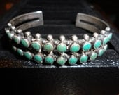 Vintage Native American Turquoise and Silver Petti point Cuff