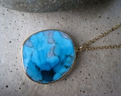 Turquoise Blue Hued 24K Gold Edged Pendant Necklace