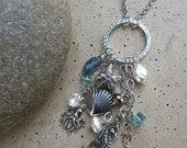 Nautical Necklace, Sterling Silver, Nautical Charm Necklace, Octopus, Seahorse, Starfish, Gemstone, Labradorite, Apatite, Irisjewelrydesign