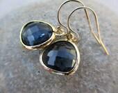 Sapphire Blue Gold Earrings, Dark Blue Earrings, September Birthstone Earrings, Fashion, Irisjewelrydesign