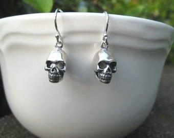Skull Earrings, Sterling Silver, Skeleton, Gothic, Edgy, Rocker, Irisjewelrydesign