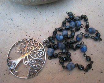 Family Tree of Life Necklace, Pendant, Sterling Silver, Blue, Czech Beads, Irisjewelrydesign
