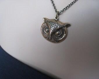 Owl Necklace, Antiqued Bronze, Owl Face, Bird Necklace, Irisjewlerydesign