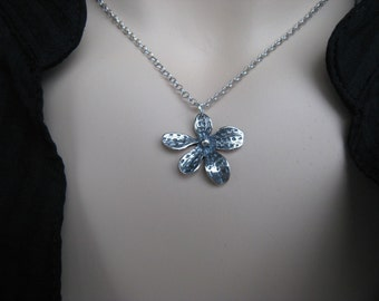 Small Flower Silver Necklace, Daisy, Oxidized Silver, Irisjewelrydesign