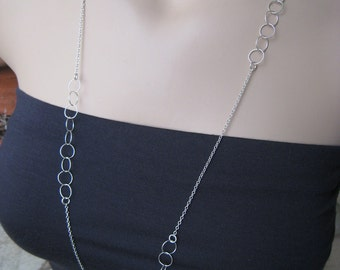 Marvelous Long Silver Necklace Etsy Hairstyles For Men Maxibearus