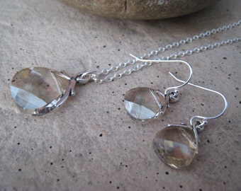 Silver Shade Crystal Necklace and Earrings Set