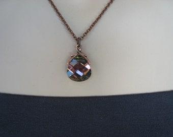 Plum Necklace, Crystal Necklace, Swarovski Crystal, Antiqued Copper, Irisjewelrydesign, Fashion