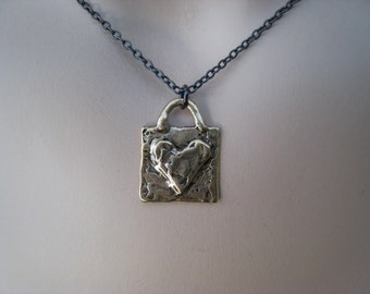 SALE Heart Pendant Necklace, Bronze, Valentines Day, Oxidized, Irisjewelrydesign